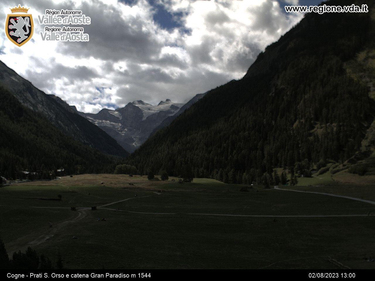 Webcam da Cogne verso Valnontey - Gran Paradiso sullo sfondo