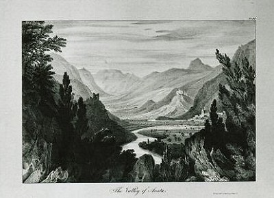 The Valley of Aosta. Lithographie de W. Linton (1832) (ASBC)
